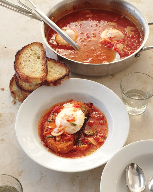 Tomato soup with poached eggs, pinned from marthastewart.com